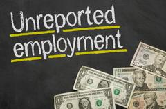 Text on blackboard with money - Unreported employment Stock Illustration