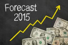 Text on blackboard with money - Forecast 2015 Stock Illustration