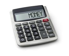Calculator with the word money on the display Stock Photos
