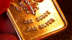 Ounce silver bar imperial russian bar Stock Footage
