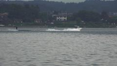 Waterski Stunts Lake Kawaguchi Stock Footage