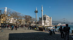 Time lapse photography, people walking Ortakoy square Stock Footage