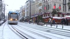 Tram, Sultan Ahmet Square in Istanbul, Turkey. January 2015. Winter Season Stock Footage