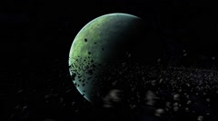 Green planet with asteriod ring freezes to ice planet 1080p 29 97FPS Stock Footage