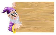 Wizard and blank wooden sign Stock Illustration