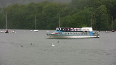 Windermere cruiser Miss Cumbria II approaching Bowness pier Stock Footage