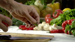 Knife Cutting Tomato - stock footage