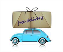 Stock Illustration of blue compact car with free delivery parcel