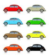 Set of colorful compact cars Stock Illustration