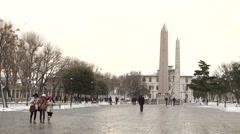 Sultan Ahmet Square in Istanbul, Turkey. January 2015. Winter Season Stock Footage