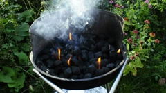 Barbecue with burning, smoking charcoal Stock Footage