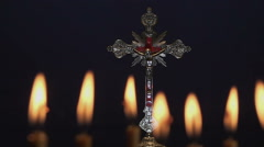 Holy Cross with Candles 4 - stock footage