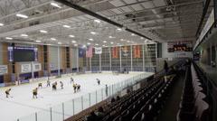 Hockey wide shot, Ice Hockey team sport game day Stock Footage
