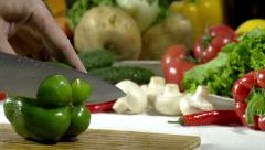 Cutting Knife Green Bell Pepper Stock Footage