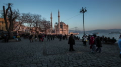 Ultra HD, 4K people walking Ortakoy square Stock Footage