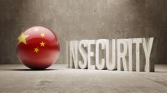 China. Insecurity Concept. Stock Illustration