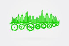Green City Skyline With Cogs And Wheels - stock illustration