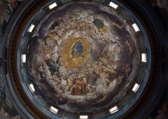 Fresco in the dome above the the altar at the Basilica Santa Maria della Steccat - stock photo