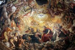 Fresco in the dome above the the altar at the Basilica Santa Maria della Steccat Stock Photos