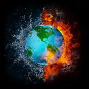 Globe in Flame and Water Stock Illustration