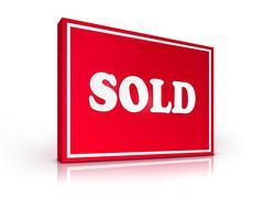 Real Estate Sign - Sold Stock Illustration