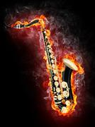 Saxophone in Flame Piirros