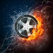 Car Wheel in Flame and Water - stock illustration