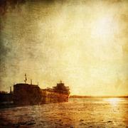 Winter Barge Stock Illustration