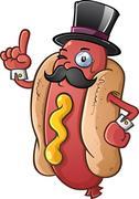 Hot Dog Gentleman Cartoon Character - stock illustration