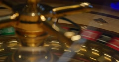 A 4K close shot of a casino roulette in motion - stock footage