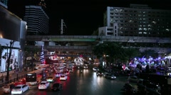 Night lights of Bangkok, engineering structures BTS Skytrain lines, buildings - stock footage