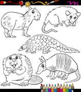 Stock Illustration of animals set cartoon coloring book