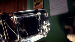 Metallic cased snare drum slide Stock Footage