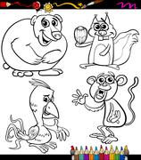 animals set cartoon coloring book - stock illustration