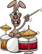 Bunny playing drums cartoon illustration Stock Illustration