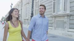 Couple holdling hands romantic in city Stock Footage