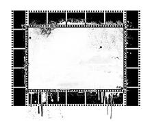 Grunge dripping film strip frame - stock illustration
