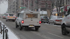 City Snow Storm ,Truck,cars ,Juno Blizzard, Winter Resilience Stock Footage