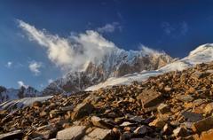 Mountain peaks in Tajikistan - stock photo