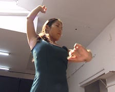 Japanese girl performing Flamenco in a studio Stock Footage