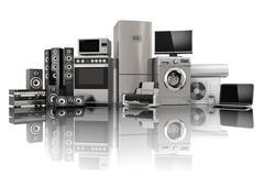 Home appliances. Gas cooker, tv cinema, refrigerator air conditioner microwav Stock Illustration