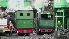 Snowdon mountain railway steam engines on shed Stock Footage