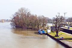watergate griesheim at river Main - stock photo
