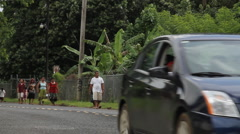 Driving down Road on Micronesian Island of Pohnpei Stock Footage