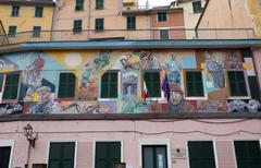 Stock Photo of Murals of the painter Silvio Benedetto in Riomaggiore, Italy