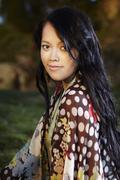 Nice portrait of Asian lady - stock photo