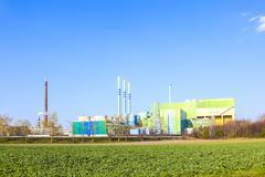 buildings of an Industry Park in beautiful landscape near Frankfurt. - stock photo