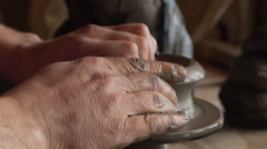 Man create handcraft pottery Stock Footage