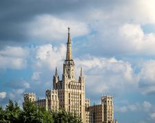 One of Moscow's famous highrises. Stock Photos