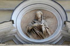 Stock Photo of Saint Lucia, marble statue. St. Lucia Church. Parma.